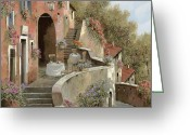 Old Wall Greeting Cards - Un Caffe Al Fresco Sulla Salita Greeting Card by Guido Borelli