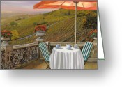 Umbrella Painting Greeting Cards - Un Caffe Greeting Card by Guido Borelli