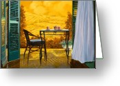 Chairs Greeting Cards - Un Caldo Pomeriggio D Greeting Card by Guido Borelli