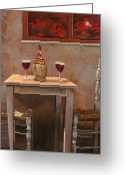 Glass Greeting Cards - un fiasco di Chianti Greeting Card by Guido Borelli