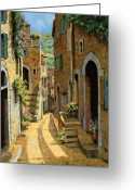 Shadow Painting Greeting Cards - Un Passaggio Tra Le Case Greeting Card by Guido Borelli