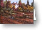 Red Leaves Painting Greeting Cards - Una Bicicletta Nel Bosco Greeting Card by Guido Borelli