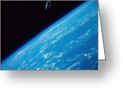 Space Travel Greeting Cards - Unattached Space Walk Greeting Card by Stocktrek Images
