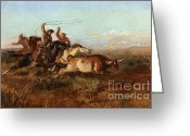 Open Range Greeting Cards - Unbranded Greeting Card by Pg Reproductions
