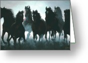 Equines Painting Greeting Cards - Unbridled Greeting Card by Liz Mitten Ryan