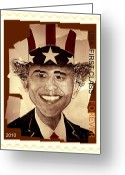 Barack Obama Mixed Media Greeting Cards - UNCLE BAM  Postage Stamp Greeting Card by Teodoro De La Santa