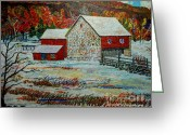 Amish Scenes Greeting Cards - Uncle Ottos Barn Greeting Card by Donald McGibbon