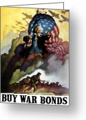 United States Flag Greeting Cards - Uncle Sam Buy War Bonds Greeting Card by War Is Hell Store