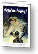 Warishellstore Greeting Cards - Uncle Sam Keep Em Flying  Greeting Card by War Is Hell Store