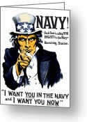 World War One Greeting Cards - Uncle Sam Wants You In The Navy Greeting Card by War Is Hell Store
