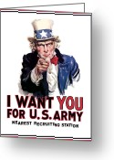 I Want You Greeting Cards - Uncle Sam  Greeting Card by War Is Hell Store