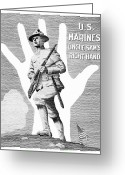 Marine Corps Greeting Cards - Uncle Sams Right Hand Greeting Card by War Is Hell Store