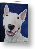 Bull Terrier Greeting Cards - Unconditional Greeting Card by Jindra Noewi