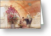 Greek Sculpture Painting Greeting Cards - Unconscious Rivals Greeting Card by Sir Lawrence Alma Tadema