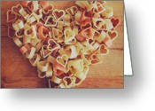 Healthy Eating Greeting Cards - Uncooked Heart-shaped Pasta Greeting Card by Julia Davila-Lampe