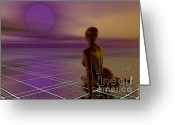 Woman Figure Greeting Cards - Under a Purple Moon Greeting Card by Sandra Bauser Digital Art