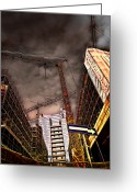 Vertical Abstract Greeting Cards - Under Construction Two Greeting Card by Adriano Pecchio