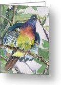 Drawing Of Bird Greeting Cards - Under Her Wings Greeting Card by Mindy Newman