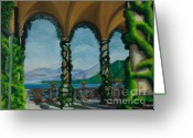 Lake Como Greeting Cards - Under The Arches At Villa Balvianella Greeting Card by Charlotte Blanchard