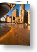 Chicago Skyline Greeting Cards - Under the bean and Chicago skyline at sunrise Greeting Card by Sven Brogren