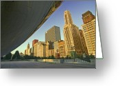 Chicago Skyline Greeting Cards - Under the Bean and Chicago skyline Greeting Card by Sven Brogren