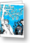 Katchakul Kaewkate Greeting Cards - Under the Beot kkot tree Greeting Card by Katchakul Kaewkate