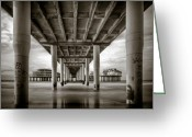Beach Prints Greeting Cards - Under the Boardwalk Greeting Card by David Bowman