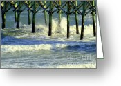 Seafoam Greeting Cards - Under the Boardwalk Greeting Card by Karen Wiles