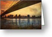 Cityscape Digital Art Greeting Cards - Under the Bridge Greeting Card by Svetlana Sewell