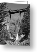 Southern Rocky Mountains Greeting Cards - Under the Devils Gate Bridge Black and White Greeting Card by Ken Smith