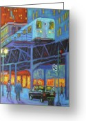 Chicago Artist Greeting Cards - Under the El Tracks Greeting Card by J Loren Reedy