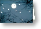 Lit Greeting Cards - Under The Moonlit Sky Greeting Card by Gothicolors With Crows