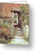 Mother And Child Greeting Cards - Under the Old Malthouse Hambledon Surrey Greeting Card by Helen Allingham