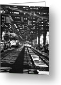 Train Track Greeting Cards - Under the One Train in the Bronx Greeting Card by Sarah Loft
