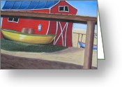 Shack Pastels Greeting Cards - Under the Pier Greeting Card by Judi Schultze