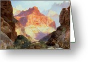 Thomas Moran Greeting Cards - Under the Red Wall Greeting Card by Thomas Moran