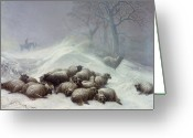 Snow Storm Greeting Cards - Under the Shelter of the Shapeless Drift Greeting Card by Thomas Sidney Cooper