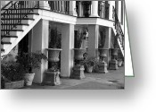 Wrought Iron Stairs Greeting Cards - Under the Steps in Savannah - Black and White Greeting Card by Carol Groenen