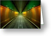 Staircase Greeting Cards - Underground Heathrow Greeting Card by Svetlana Sewell