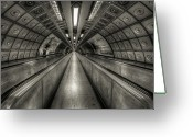 The Station Greeting Cards - Underground Tunnel Greeting Card by Vulture Labs