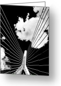 Black And White Greeting Cards - Underneath the Zakim Greeting Card by Andrew Kubica