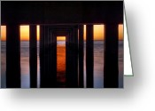 Unique Image Greeting Cards - Underside of the Pier Greeting Card by Pixel Perfect by Michael Moore
