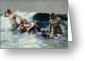 Guards Greeting Cards - Undertow Greeting Card by Winslow Homer