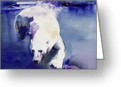Polar Bear Greeting Cards - Underwater Bear Greeting Card by Mark Adlington