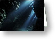 Cavern Greeting Cards - Underwater Cave Greeting Card by Alexander Semenov