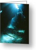 Cavern Greeting Cards - Underwater Cave Greeting Card by Alexis Rosenfeld