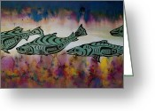 Color Tapestries - Textiles Greeting Cards - Underwater Color Greeting Card by Carolyn Doe