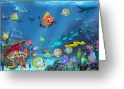Sea Turtles Greeting Cards - Underwater Fantasy Greeting Card by Doug Kreuger