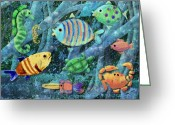 Sea Creature Greeting Cards - Underwater Maze Greeting Card by Arline Wagner