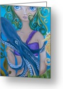 Jaz Greeting Cards - Underwater Mermaid Greeting Card by Jaz Higgins